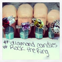 Cute Tiffany & Co. mani with Diamond Candles rings!