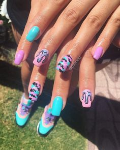 """27 mars 2020 - Freehand Glasto fezzy nails for babe 💖😎🦋🌈🍭🔥I'm living for the phone! """"WHERE R U"""" """"I'm at th… Camo Nails, Edgy Nails, Hot Nails, Swag Nails, Summer Acrylic Nails, Best Acrylic Nails, Acrylic Nail Designs, Nail Art Designs, Camo Nail Designs"""