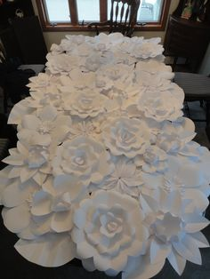 White Paper Flower Wall 4ft x 8ft   Extra Large Paper Flowers Decoration Photo Backdrop Prop