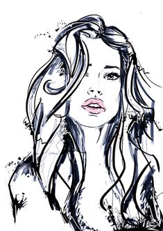 Dashabelova.com, fashion portrait, fashion illustration, girl, grunge, art print, illustration, girl, black and white
