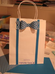 Paper Gift Bag, Bow Tie and Suspenders, Masculine, Father's Day Stéphanie Tsang - Libellule Créations - Stampin' Up