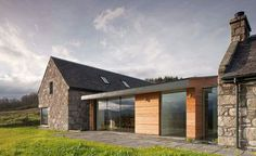 Timber cladding / glazed doors / views / Highlands / modern architecture / Archer + Braun / Photography by David Barbour Stone Cottage Homes, Stone Cottages, Stone Houses, House Cladding, Wood Cladding, Cottages England, Cottage Extension, Cottage Renovation, Cottage Plan