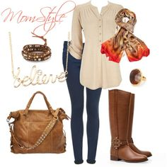 Want to look chic while running kids around? Check it out. Brown boots are a nice change from black! Mom Style Fall, Mommy Style, Style Me, Autumn Winter Fashion, Fall Fashion, Fashion Outfits, Womens Fashion, Mommy Fashion, Fall Outfits