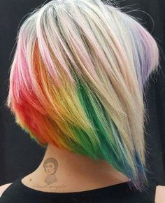 Blonde with rainbow hair Grey Hair Dye, Dyed Hair Pastel, Dye My Hair, White Hair, Rainbow Hair Highlights, Dyed Tips, Ombré Hair, Blonde Hair, Hair Colors