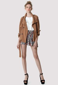 #Chicwish Double Breasted Chiffon Trench Coat in Tan - New Arrivals - Retro, Indie and Unique Fashion