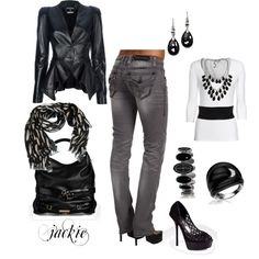 Black, white and gray....♥ perhaps a different jacket- not sold on how flattering the cut would be