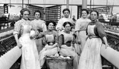 Old photograph of textile mill workers in the Borders of Scotland
