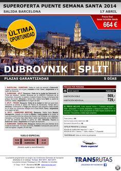 DUBROVNIK - Split / 5 días ¡¡Última Oportunidad Pte S. Santa: 17 abril!! sal. Barcelona dde 664€ ultimo minuto - http://zocotours.com/dubrovnik-split-5-dias-ultima-oportunidad-pte-s-santa-17-abril-sal-barcelona-dde-664e-ultimo-minuto/