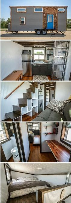Awesome tiny home inspiration | The Triton tiny house from Wind River Tiny Homes of Chattanooga, Tennessee. A 204 sq ft home with two loft spaces and a home office. by amy.shen