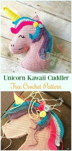 Crochet Unicorn Kawaii CuddlerAmigurumi Free Pattern-#Amigurumi Crochet #Unicorn; Toy Softies Patterns