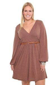 Brown Balloon Sleeve Sweater Dress   New - StyleSays