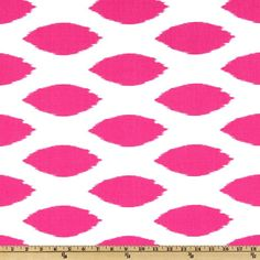 Screen printed on cotton duck; this versatile medium weight fabric is perfect for window treatments (draperies, valances, curtains and swags), toss pillows, duvet covers and upholstery. Get creative with tote bags and aprons! *Use cold water and mild detergent (Woolite). Drying is NOT recommended - Air Dry Only - Do not Dry Clean. Colors include candy pink on a white  background.