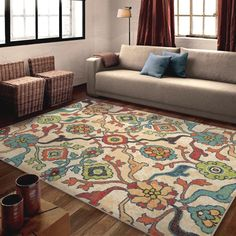 Buying an area rug is a fantastic way to add color, warmth and comfort to any room or office space, as well as gain some of the benefits of carpet. Good Quality Colorful Modern Area Rug - Shades of Ivory, Blue, Green Red, Orange, Brown & Peach. | eBay!