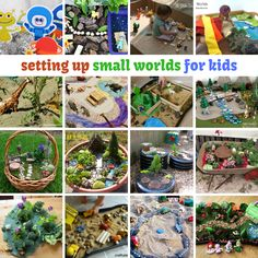 Setting up small world play for kids Small World Play, Tiny World, Toddler Fun, Toddler Activities, Primary Activities, Work Activities, Sand Play, Sensory Bins, Sensory Table