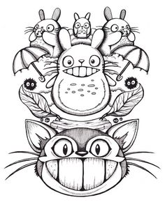 Totoro 11x14 Giclee Print Original ink drawing by Jessferatu