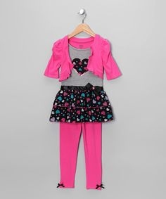 Take a look at this Dark Pink Heart Skirted Top Set - Girls by Young Hearts on #zulily today!