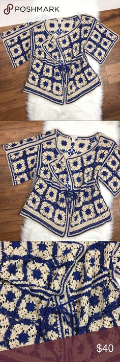 Sundance Patchwork Crochet Granny Squares Cardigan Sundance Cream Blue Patchwork Crochet Granny Squares Cardigan. One Size. Sundance Sweaters Cardigans