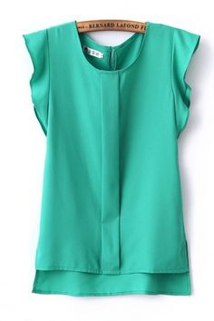 Green Butterfly Sleeves Blouse