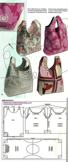 Patchwork bags ideas free sewing New Ideas Handbag Patterns, Bag Patterns To Sew, Sewing Patterns, Tote Pattern, Patchwork Bags, Quilted Bag, Bag Packaging, Fabric Bags, Fabric Basket