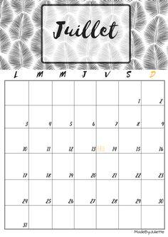 Calendrier - Juillet 2017 - Imprimes le calendrier pour customiser ton agenda! A VOIR : ma vidéo sur youtube