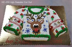 """ugly sweater cake!  Needing ideas for a FUN Ugly Christmas Sweater Party check out """"The How to Party In An Ugly Christmas Sweater"""" at Amazon.com"""