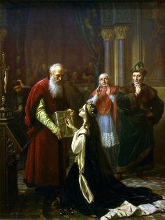 """Simmler Józef (1823-1868) 🇵🇱🎨  """"Przysięga królowej Jadwigi"""" ,1867"""