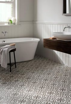 Spanish-style patterned bathroom floor tiles, an easy way to decorate from www.redonline.co.uk