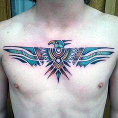 Gentleman With Tribal Designed Eagle Tattoo Design