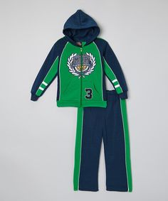 Look at this #zulilyfind! Green 'Trophy' Zip-Up Hoodie & Pants - Infant, Toddler & Boys by Allura Imports #zulilyfinds