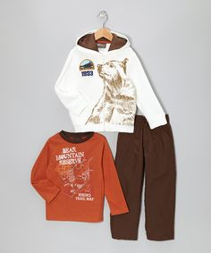 Take a look at this BOYZ WEAR Orange 'Bear Mountain' Zip-Up Hoodie Set - Infant & Toddler on zulily today!