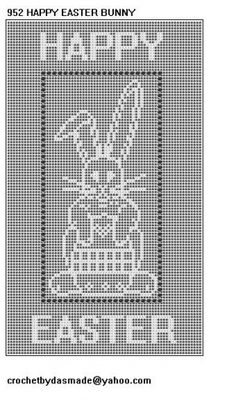 Happy Easter Bunny Egg Filet Crochet Doily Afghan Pattern 952