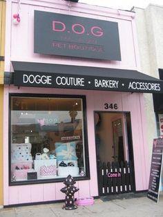D.O.G Pet Boutique (Los Angeles) precioso detalle de la entrada. La boca de incendio para hacer pipi y los cuencos de agua.