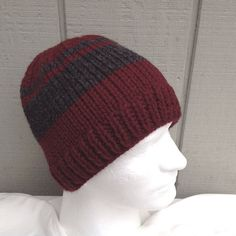 749adc594a8ed Mens wool mix beanie - Mens accessories - Mens maroon hand knit beanie - Mens  knitted hat - Gift for Men