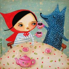 Little Red RIding Hood and Blue Wolf tea part PRINT of by tascha