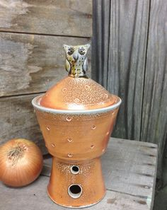 Ron Philbeck Pottery Pedestal Jar with Owl. Soda Glazed Stoneware. Free Shipping