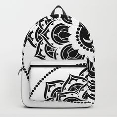 Black and White Mandala Energy Symbols, Flower Mandala, Flower Of Life, Fashion Backpack, Pop Art, Om, Backpacks, Colorful, Black And White