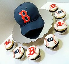 Red Sox 60th Birthday cake and cupcakes By jennrocque on CakeCentral.com