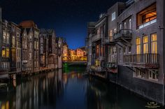 Dutch Venice - Another calm and beautiful clear evening in the center of my hometown Dordrecht early last year. This image was made out of 6 exposures, 5 brackets of the houses and the canal  and one of the sky. My purpose was to show Dordrecht with it's unique old houses and wonderful atmosphere that comes with it..........