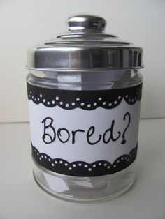 """Bored jar = take a jar and fill it with dozens of little papers with suggestions to eliminate boredom. Perhaps your child will write a poem, eat ice cream, or clean his room :) Any time you hear """"I'm bored!"""" make them pick a paper from the jar! Things To Do When Bored, When Im Bored, Bored Jar, Bored Kids, Crafts To Do, Kids Crafts, Craft Projects, Summer Fun, Activities For Kids"""