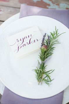 Calligraphy + rosemary. Lovely combo. Photo by Laura Murray #modernthanksgiving