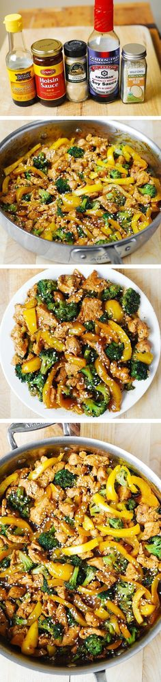 Chicken, broccoli, and yellow bell pepper stir-fried in Asian-style sauce - healthy, low-fat meal packed with protein (chicken) and fiber (vegetables). And, it takes only 30 minutes from start to finish!