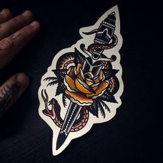 68 Trendy Tattoo Traditional Knife Sailor Jerry - Famous Last Words Traditional Dagger Tattoo, Traditional Tattoo Old School, Traditional Style Tattoo, Knife And Rose Tattoo, Snake And Dagger Tattoo, Knife Tattoo, Hand Tattoos, Body Art Tattoos, Sleeve Tattoos