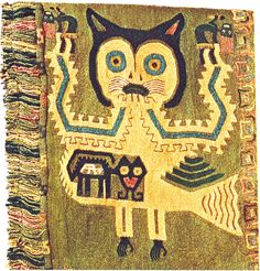 Detailed of embroidered paracas mantle, Peru