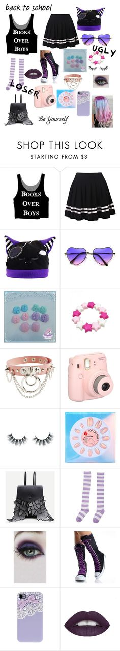 """""""pastel goth"""" by majastina2004 ❤ liked on Polyvore featuring ZeroUV, Fujifilm, Unicorn Lashes, Lime Crime, WithChic, Concrete Minerals and L.A. Girl"""