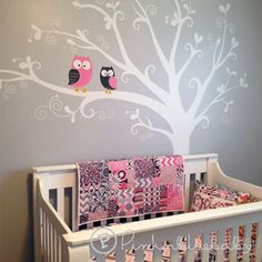 """[ITEM NO. 90334]    Set Size : 82.5""""w x 88""""h (approx.)    Colors in the listing picture are:  Tree and Leaves White  Big Owl- Soft Pink, Brown"""