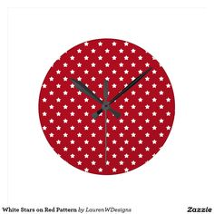 White Stars on Red Pattern Round Clock