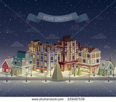 Christmas Night Cityscape And Snowfall. Vector Illustration. - 229487539 : Shutterstock