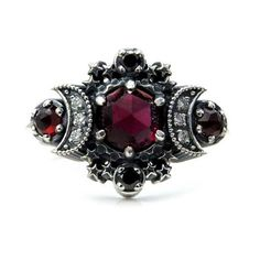 Blood Moon Gothic Engagement Ring Set Rose Cut Garnet with Black