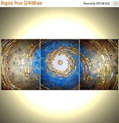 Original abstraktes Gemälde Winter Sale! 22 % Rabatt auf Ihren GESAMTEN EINKAUF. Rabatt wurde bereits angewendet. Kaufen zwei Gemälde erhalten, ein Drittel der gleichen oder geringeren Wert FREI. Abstraktes Blaues Gold texturierte Original Modern Painting von Dan Lafferty - MIDNIGHT BREEZE - 24 x 54 - Ausverkauf FREIE MALEREI-ANGEBOT: ~ Special bundle - kaufen alle 2 Originalgemälden und ein 3. Gemälde von gleichem oder geringerem Wert kostenlos erhalten! (Einfach Nachricht an mich…
