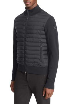 moncler mixed-media quilted-front hooded jacket navy